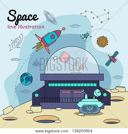 Space universe line poster with robotic rover on the moon s surface vector illustration