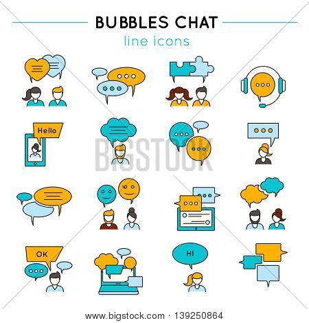 Chat line icon set people talk to each other or chatting by phone on the Internet vector illustration