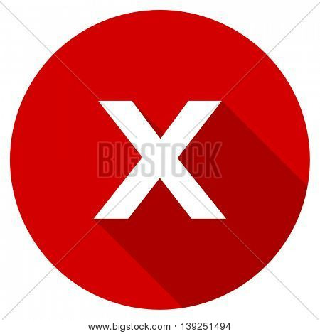 cancel red vector icon, circle flat design internet button, web and mobile app illustration