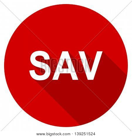 sav red vector icon, circle flat design internet button, web and mobile app illustration