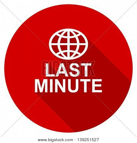 last minute red vector icon, circle flat design internet button, web and mobile app illustration