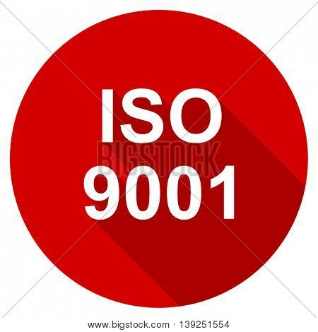 iso 9001 red vector icon, circle flat design internet button, web and mobile app illustration