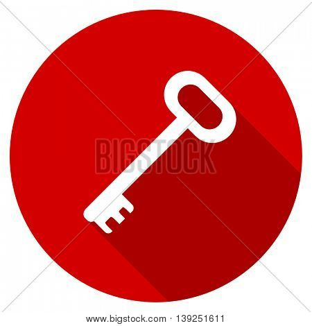key red vector icon, circle flat design internet button, web and mobile app illustration