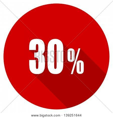 30 percent red vector icon, circle flat design internet button, web and mobile app illustration