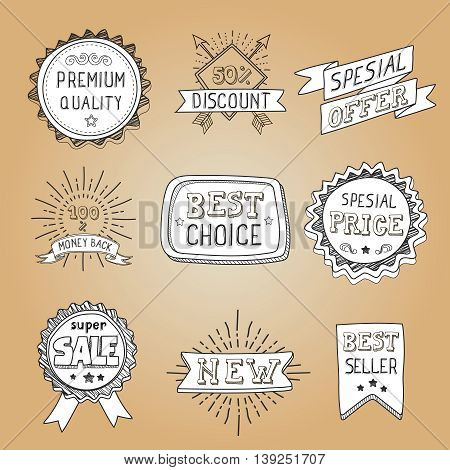 Set of hand drawn style badges and elements best choice, sale premium quality Vector illustration