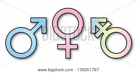 Three gender depiction signs over a white background