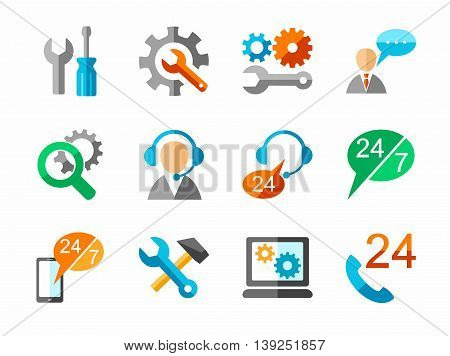 Technical support and repair, colored, flat icons. Vector icons of tools for repair and maintenance of electronics and equipment. Colored, flat pictures on a white background.