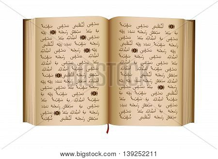 Quran - is a Holy Book of Islamic religion. Islamic scripture. Open book. Isolated illustration. Vector. NOTE: this is NOT Arabic text.