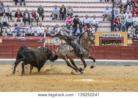 Jaen SPAIN - October 13 2008: Alvaro Montes bullfighter on horseback spanish Jaen Spain