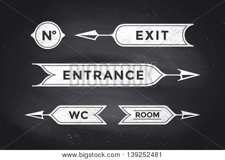 Vintage arrows and banners with inscription Entrance, Exit, Room and WC. Design elements of set arrow for navigation. Retro style arrow on black chalkboard background. Vector Illustration