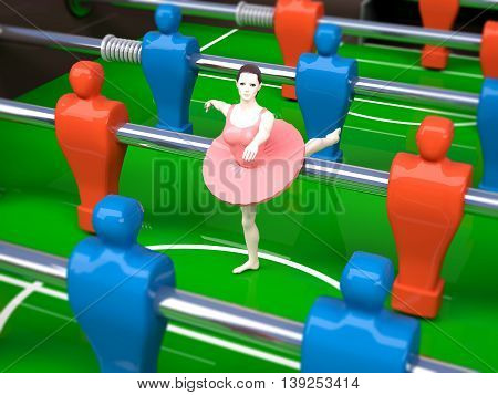 foosball table with red and blue players and a dancer girl female sports concepts 3d illustration