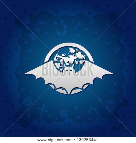 Beautiful Halloween background with golden vampire bat and full moon design and skulls crosses ghosts zombies coffins bats and candies