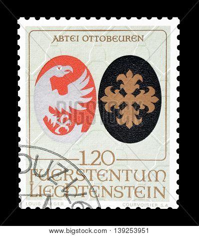 LIECHTENSTEIN - CIRCA 1971 : Cancelled postage stamp printed by Liechtenstein, that shows Coat of arms.