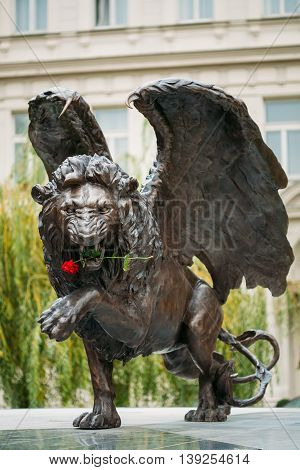 Prague, Czech Republic - October 10, 2014: Winged Lion Memorial in Prague Czech Republic. Monument is expression of British community's lasting gratitude to 2, 500 Czechoslovak airmen who served with RAF between 1940-1945 for freedom of Europe.