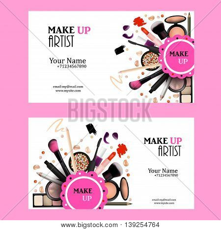 Make Up Artist Business Card Design Set. Cosmetic Products Vector Illustration with Pencil EyeShadowPowderLipsticMascaraBrush. Printable Template for Banner Poster Voucher Booklet.