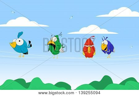 Vector illustration of cartoon colorful birds on wires.