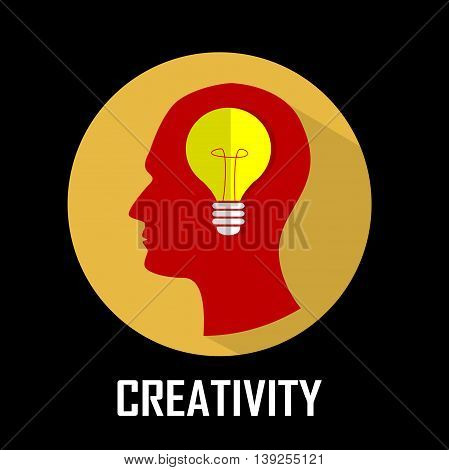 Concept of innovation, creativity, emergence of idea.Shining lamp into the brain. Vector
