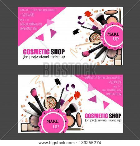 Cosmetic Shop Business Card Design Set. Cosmetic Products for Professional Make Up Artists. Vector Illustration with Pencil EyeShadowPowderLipsticMascaraBrush. Printable Template for Banner Poster Voucher Booklet.