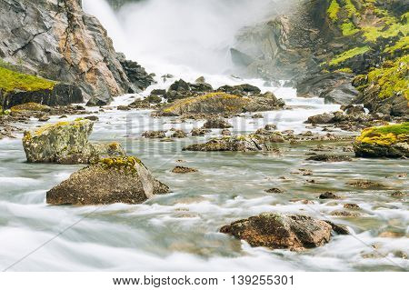 Waterfall in the Valley of waterfalls in Norway. Husedalen Waterfalls were a series of four giant waterfalls in the South Fjord.
