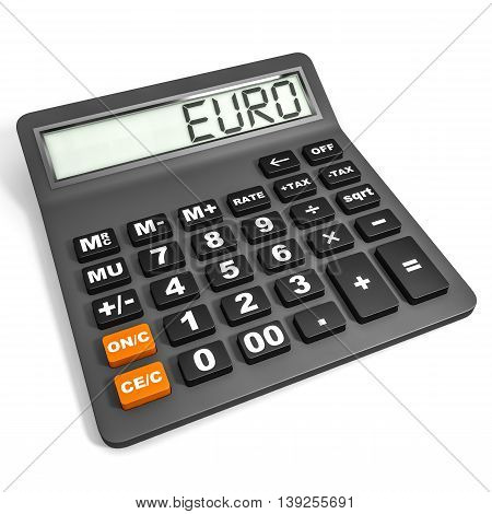 Calculator With Euro On Display.