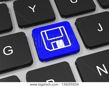 Save Or Download Key On Keyboard Of Laptop Computer.