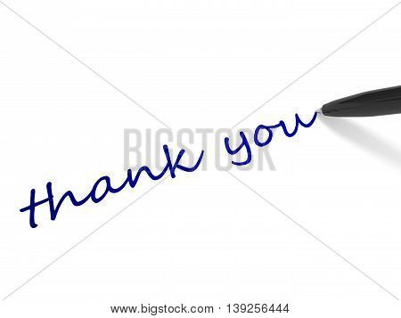 Text Thank  You And Pen.