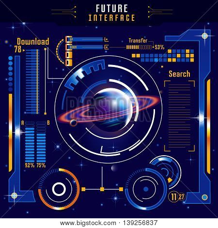 Abstract future interface composition with colored planet in digital space on blue background vector illustration