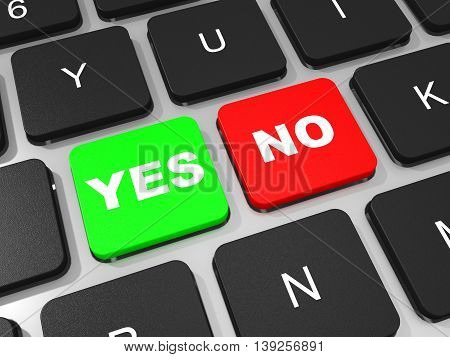 Yes And No Key On Keyboard Of Laptop Computer.
