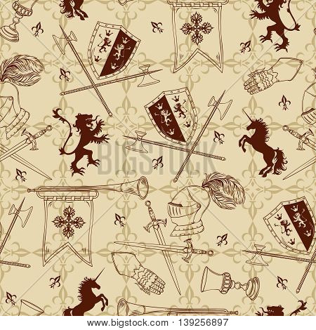 Knight seamless pattern with transparent attributes of warrior and animal silhouettes on beige textural background vector illustration