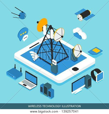 Wireless technology isometric design with tablet computer network tower  communication satellites gadgets on blue background vector illustration