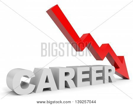 Graph down career arrow on white background. 3D illustration.