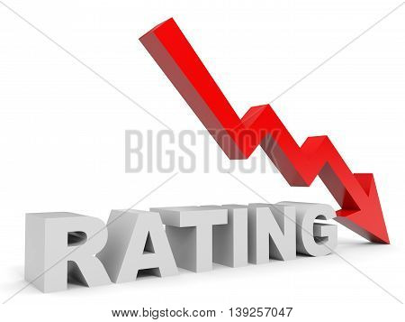 Graph down rating arrow on white background. 3D illustration.