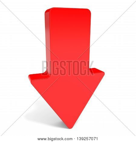 Red arrow down on white background. 3D illustration.