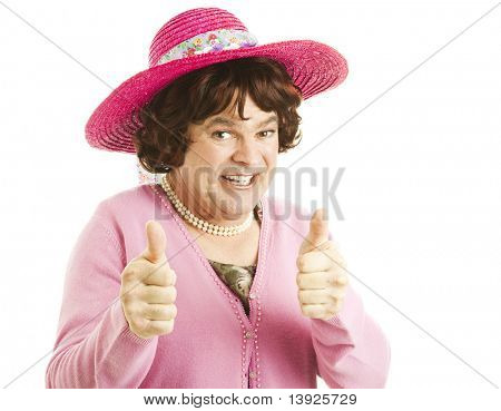 Funny image of a man, dressed as a woman, giving two thumbs up.  Isolated on white.