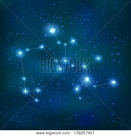 Sagittarius realistic constellation zodiac sign with big and small stars on night sky background vector illustration