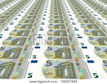 Big sheet of euro background. Five euros. 3D illustration.