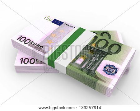 Stacks of money. One hundred euros. 3D illustration.