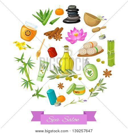 Spa salon round design with herbs towels spices cosmetics pebbles violet ribbon on white background vector illustration