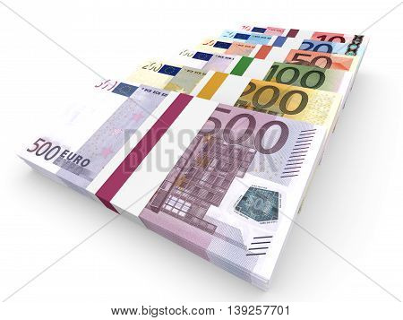 Different Euro bank notes on white background. 3D illustration.