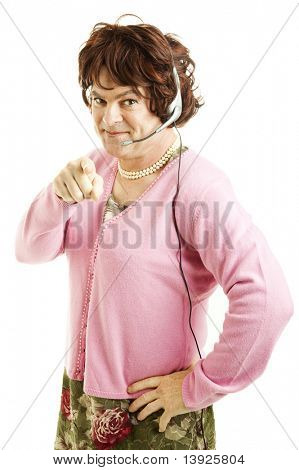 Male dressed as a woman working in the phone sex or customer service industry.  Isolated on white.