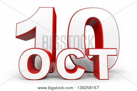 October 10. 3D Text On White Background.