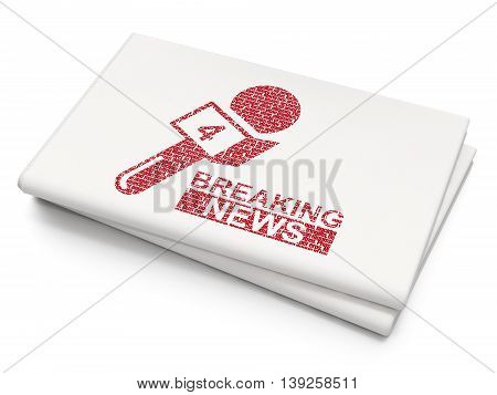 News concept: Pixelated red Breaking News And Microphone icon on Blank Newspaper background, 3D rendering
