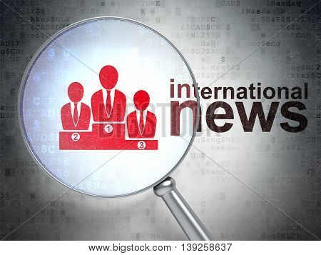 News concept: magnifying optical glass with Business Team icon and International News word on digital background, 3D rendering
