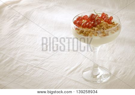 Panna Cotta with Granola and red currant berries in glass, on white background