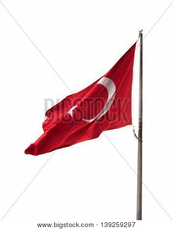 Turkish Flag On Flagpole Waving In Windy Day