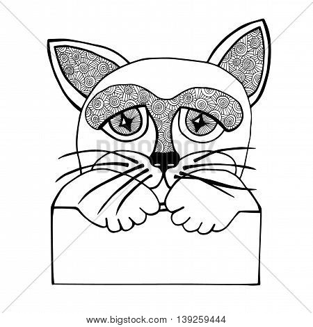 Black line abstract isolated cat head with placard on the white background. Mono color black line art element for adult coloring book page design.