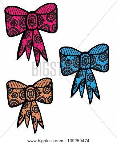Pink blue and orange color knot isolated on the white background. Beautiful bow mono color black line art element for adult coloring book page design.