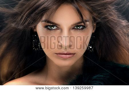 Beauty Portrait Of Brunette Elegant Woman.
