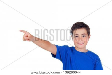 Happy child with ten years old indicating something isolated on a white background