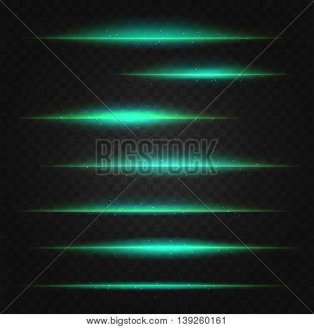 set of vector green lens flares on transparent background